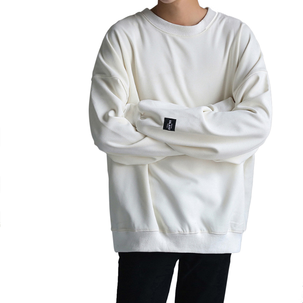 Women Men Round-Necked Loose Long-Sleeved Oversize Casual Sweatshirts for Campus  white_L