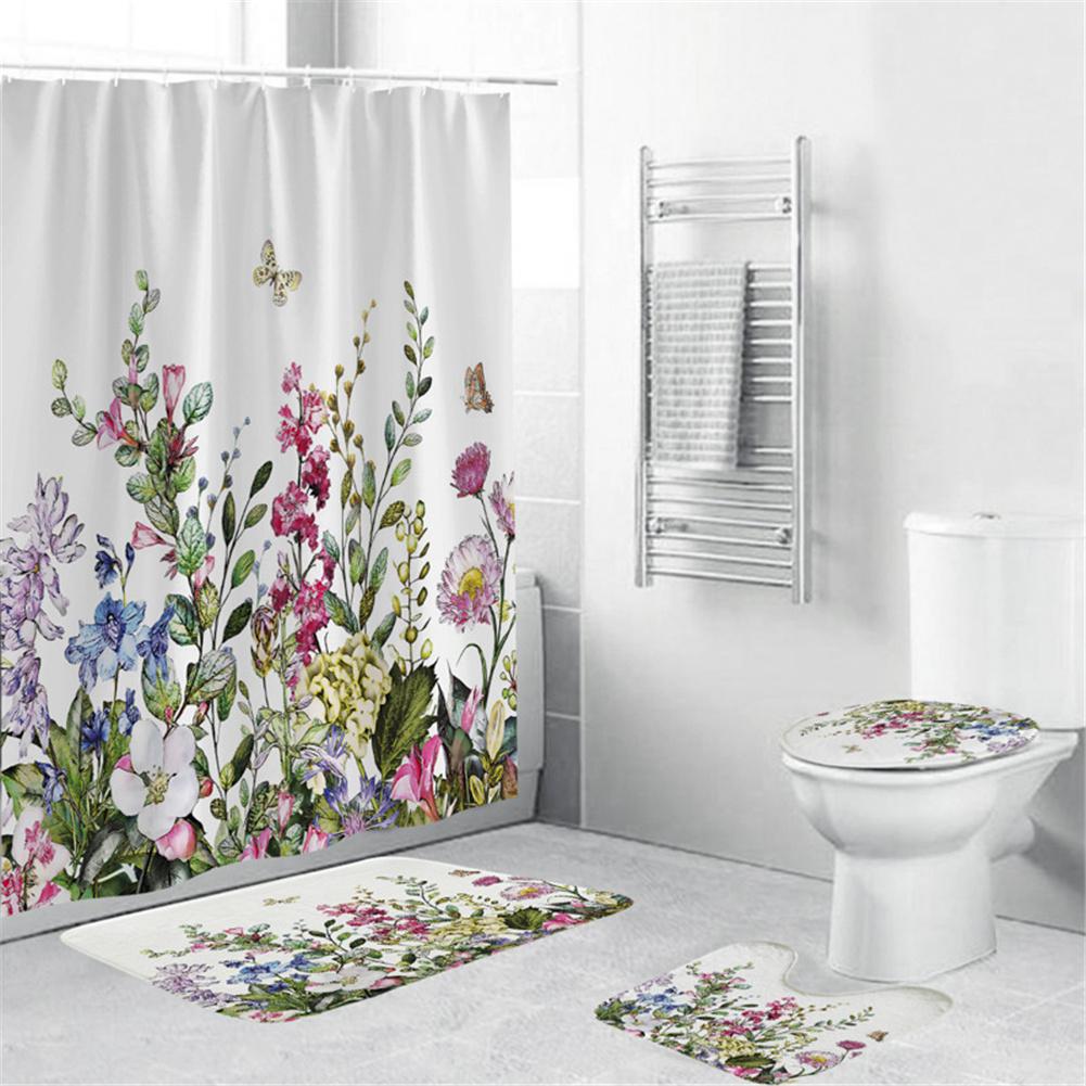 4Pcs/Set Shower Curtain 180*180cm Non-Slip Rug Toilet Lid Cover Bath Mat for Bathroom yul-2157