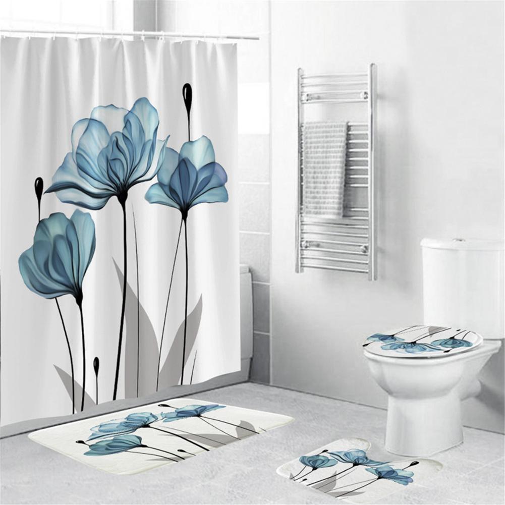 4Pcs/Set Shower Curtain 180*180cm Non-Slip Rug Toilet Lid Cover Bath Mat for Bathroom yul-2166