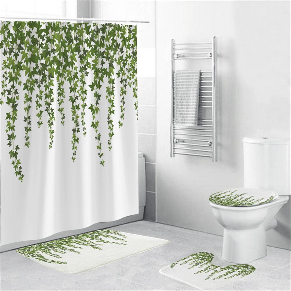 4Pcs/Set Shower Curtain 180*180cm Non-Slip Rug Toilet Lid Cover Bath Mat for Bathroom yul-2168