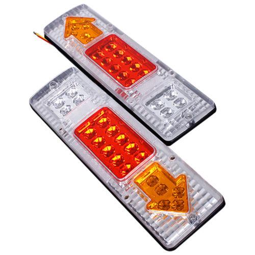 1 Pair 19 LED Rear Trailer Tail Lights Side Lights for Boat Truck Ute Caravan Yellow red white
