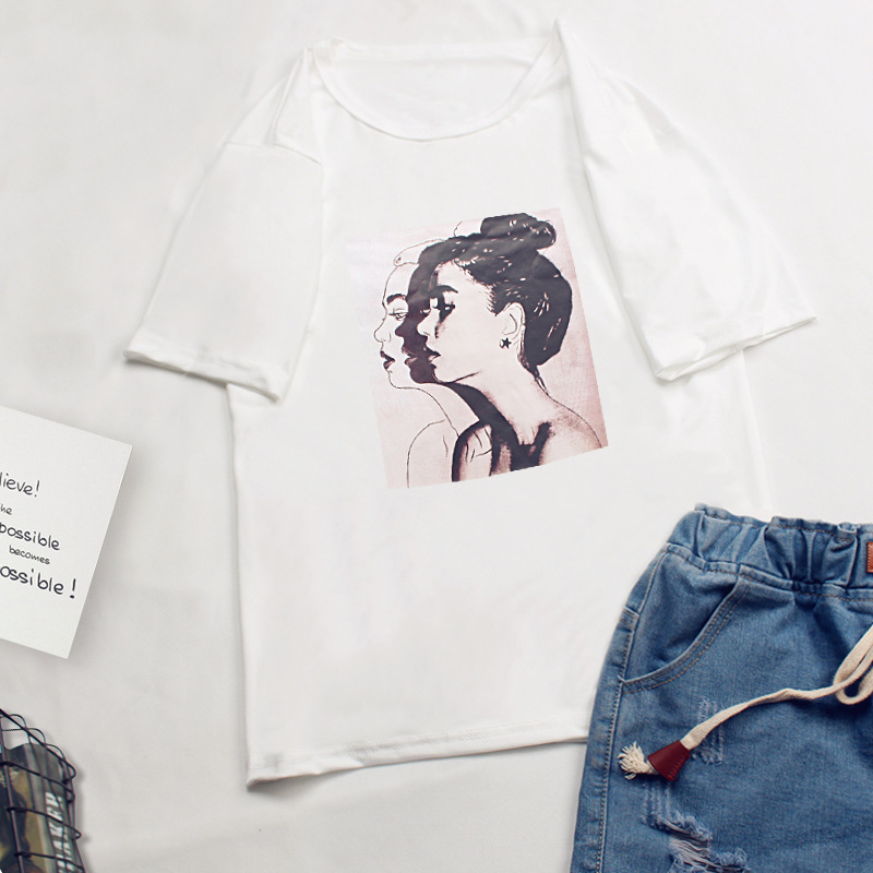 Unisex Cartoon Letters Printing Loose Short Sleeve T-shirt for Summer