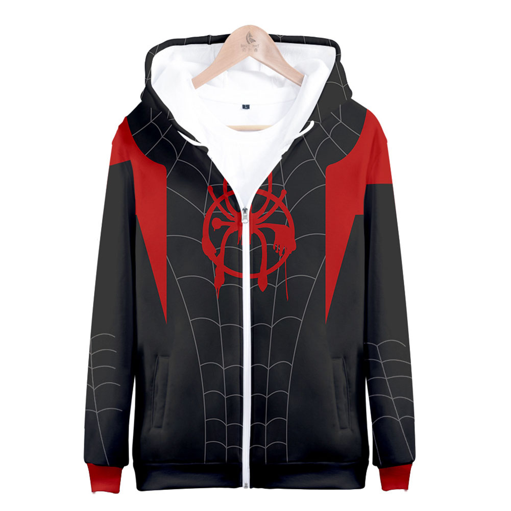 Men Women Simple Casual Spiderman Heroes Printing Hooded Zipper Sweater Style A_M