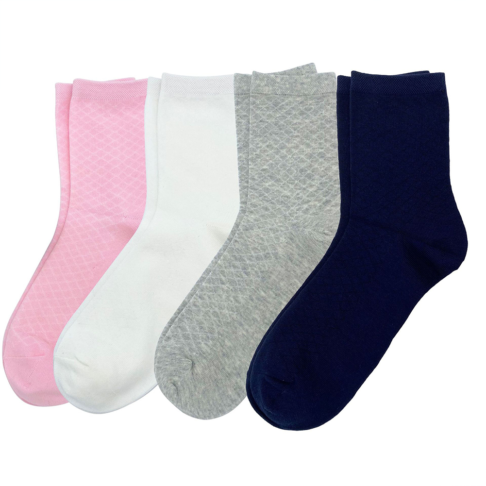 4Pairs Women Cotton Mid-calf Length Socks Breathable Mesh Socks 1#_One size