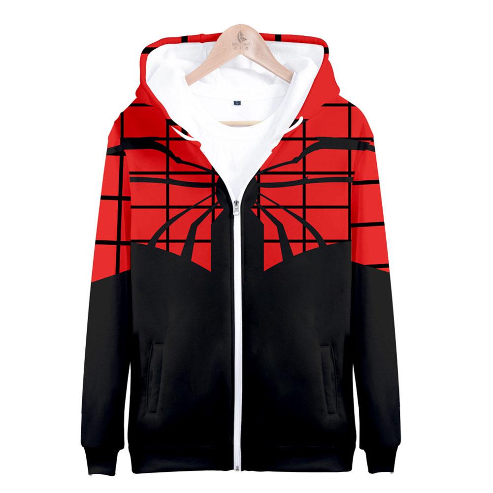 Men Women Simple Casual Spiderman Heroes Printing Hooded Zipper Sweater Style C_M