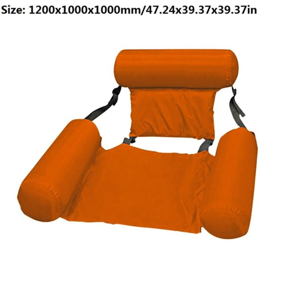 Summer Inflatable Foldable Floating Row Swimming Pool Water Hammock Air Mattresses Bed Beach Water Sports Lounger Chair Orange