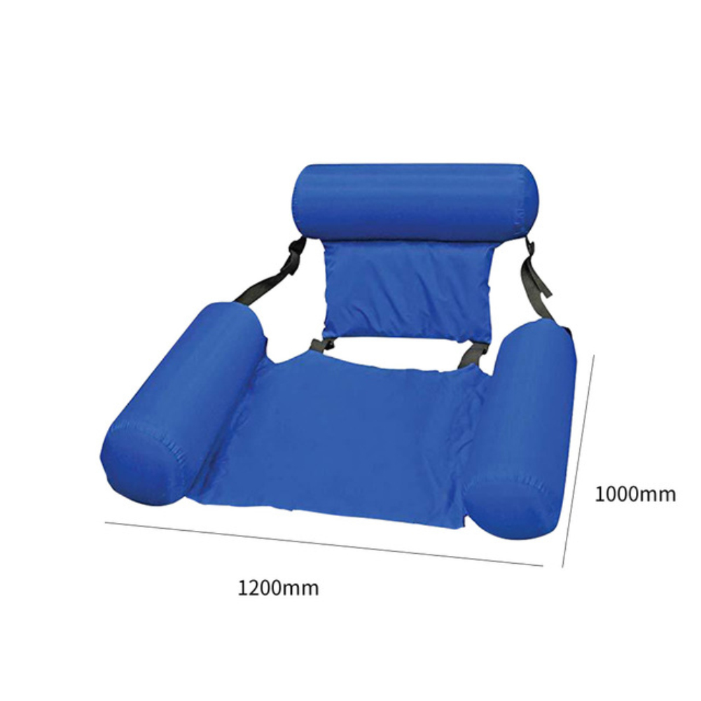 Summer Inflatable Foldable Floating Row Swimming Pool Water Hammock Air Mattresses Bed Beach Water Sports Lounger Chair blue