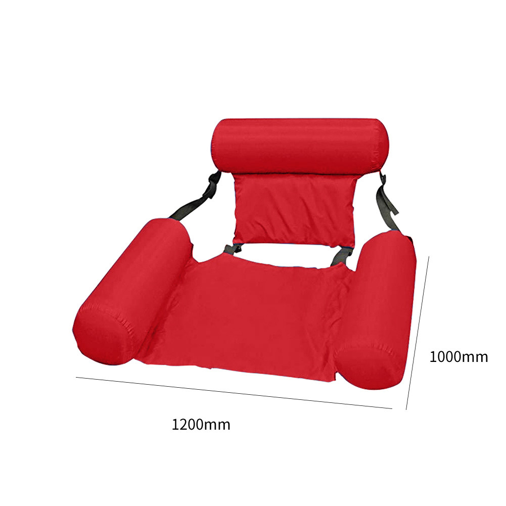 Summer Inflatable Foldable Floating Row Swimming Pool Water Hammock Air Mattresses Bed Beach Water Sports Lounger Chair rose Red