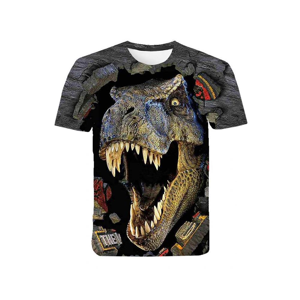 Boys T-shirt Milk Silk Short-sleeve 3d Digital Animal Print Top for 5-12 Years Old Kids As shown_150cm