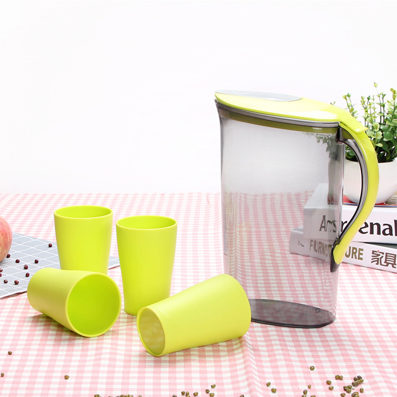 2.1 Litre Water Pitcher with Green Lid Plastic Juice Jug Water Pot Kettle with 4 Cups for Home and Office