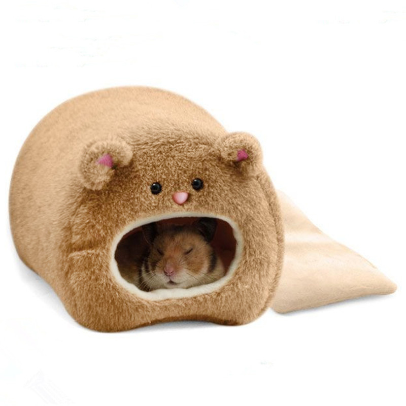 Hamster Winter Warm Cage Bear Shape Fleece House with Bed Mat for Small Pet Brown_11 * 11cmbrown