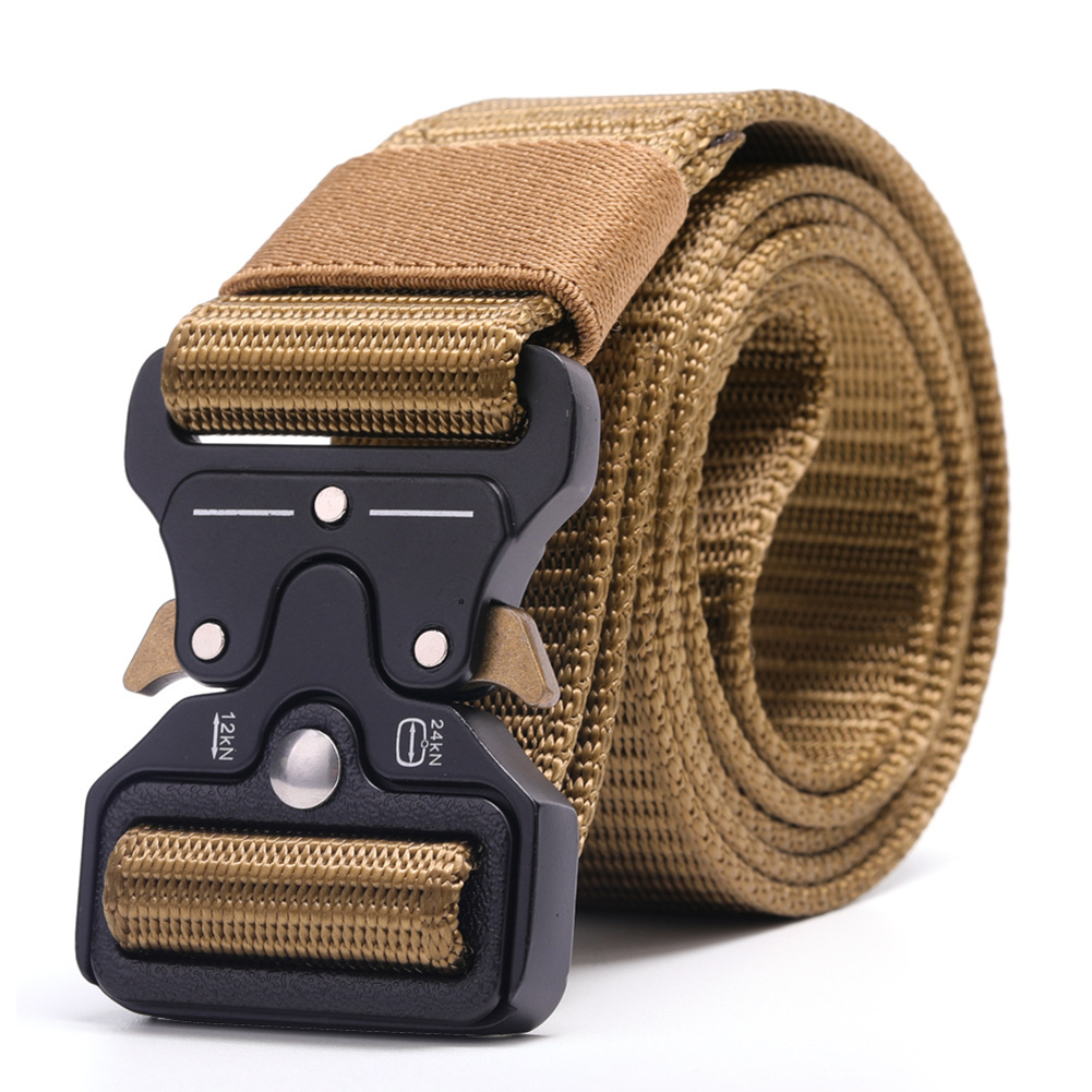 3.8cm Men Canvas Belt Quick Release Metal Buckle Nylon Training Belt  Khaki_125cm