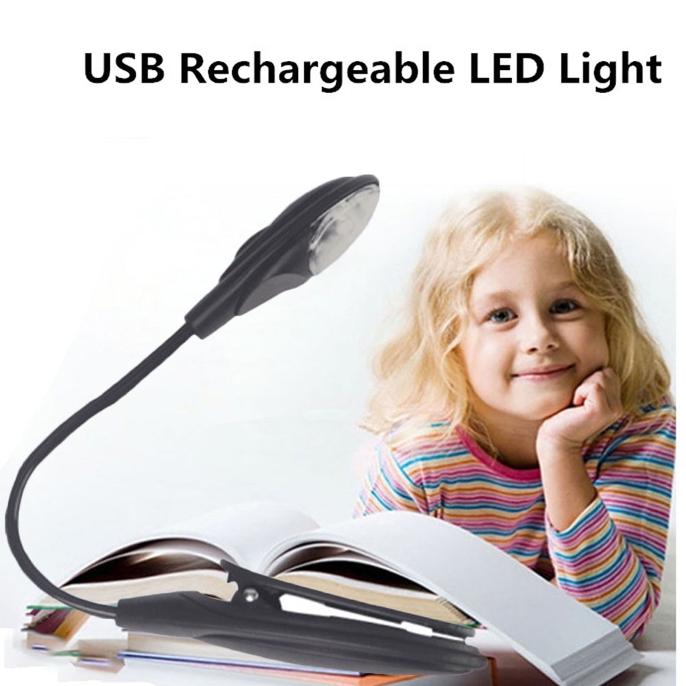 [Indonesia Direct] Simple Portable Desk Light with Clip Flexible Neck Eye-caring LED Lamp for Reading Studying gray