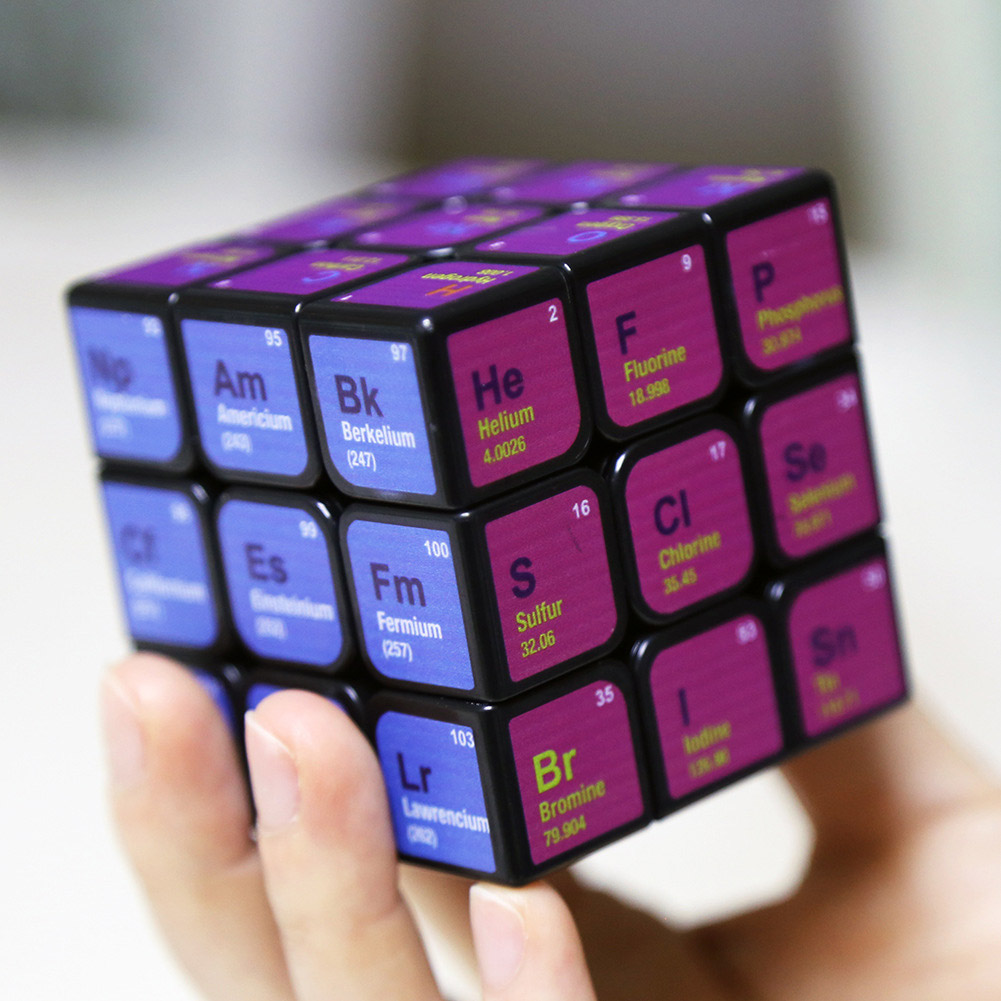 3x3x3 Magic Cube Periodic Table Printing Puzzles Toy for Kids  black