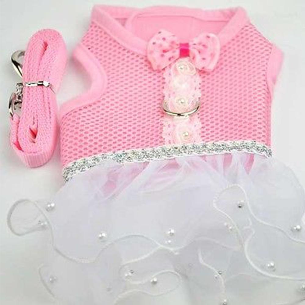 Exquisite Mesh Dog Chest Leash Pet Dress Skirt Traction Belt Pet Harness Straps (Pink) Pink_M