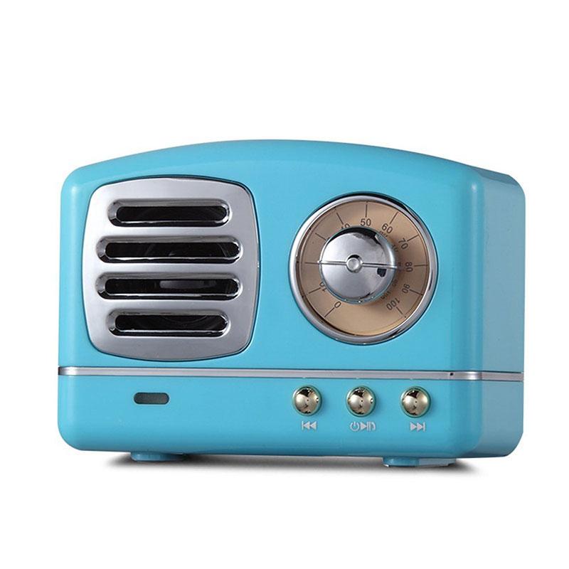 Retro Hifi Stereo Bluetooth V4.1 Speaker Portable Wireless Vintage Speaker Built-in Mic Support Memory Card blue