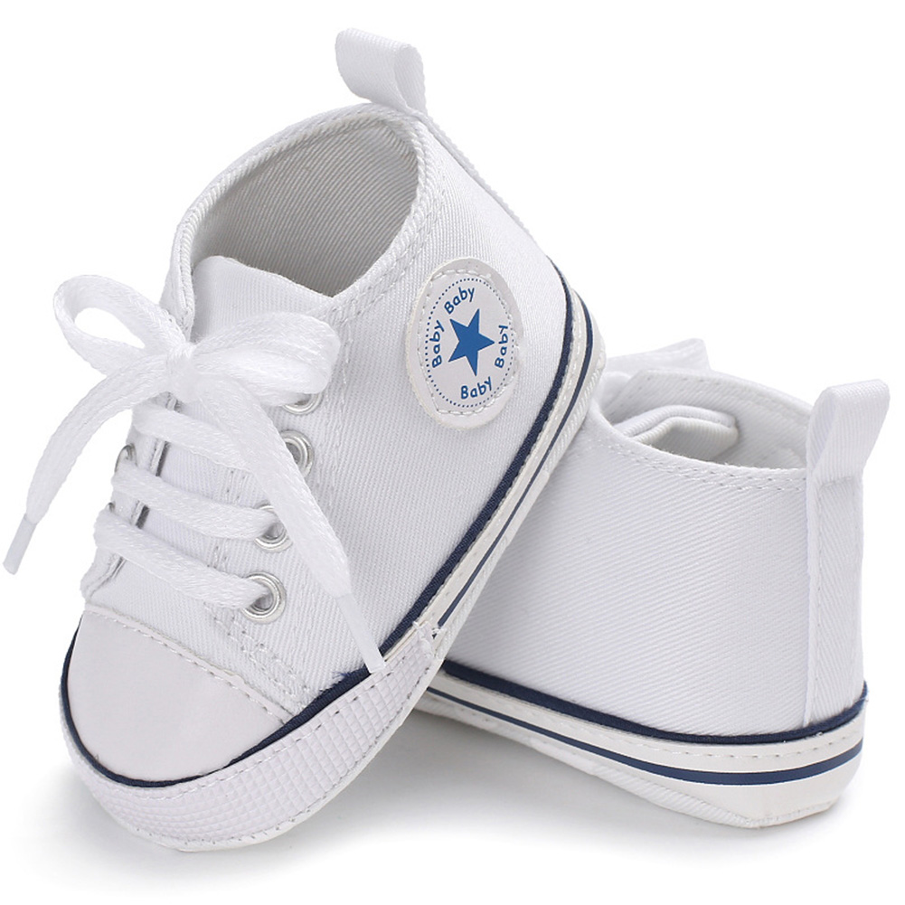 [Indonesia Direct] Baby Shoes Soft Sole Fashion Canvas Infant Toddler Sports Leisure Shoes white_11CM