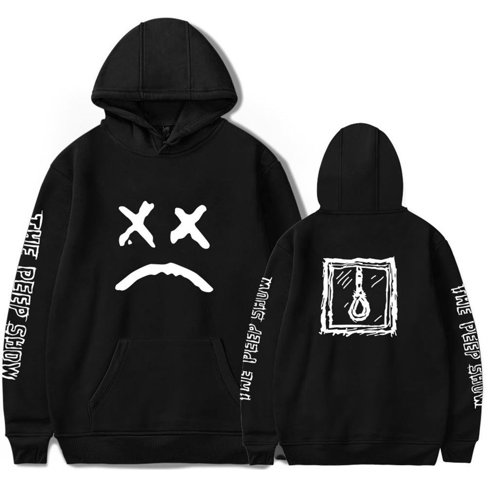 Street Style Sweatshirt Pullover Jacket Hip Hop Rapper Hoodie with Kanga Pocket Black 2_XL