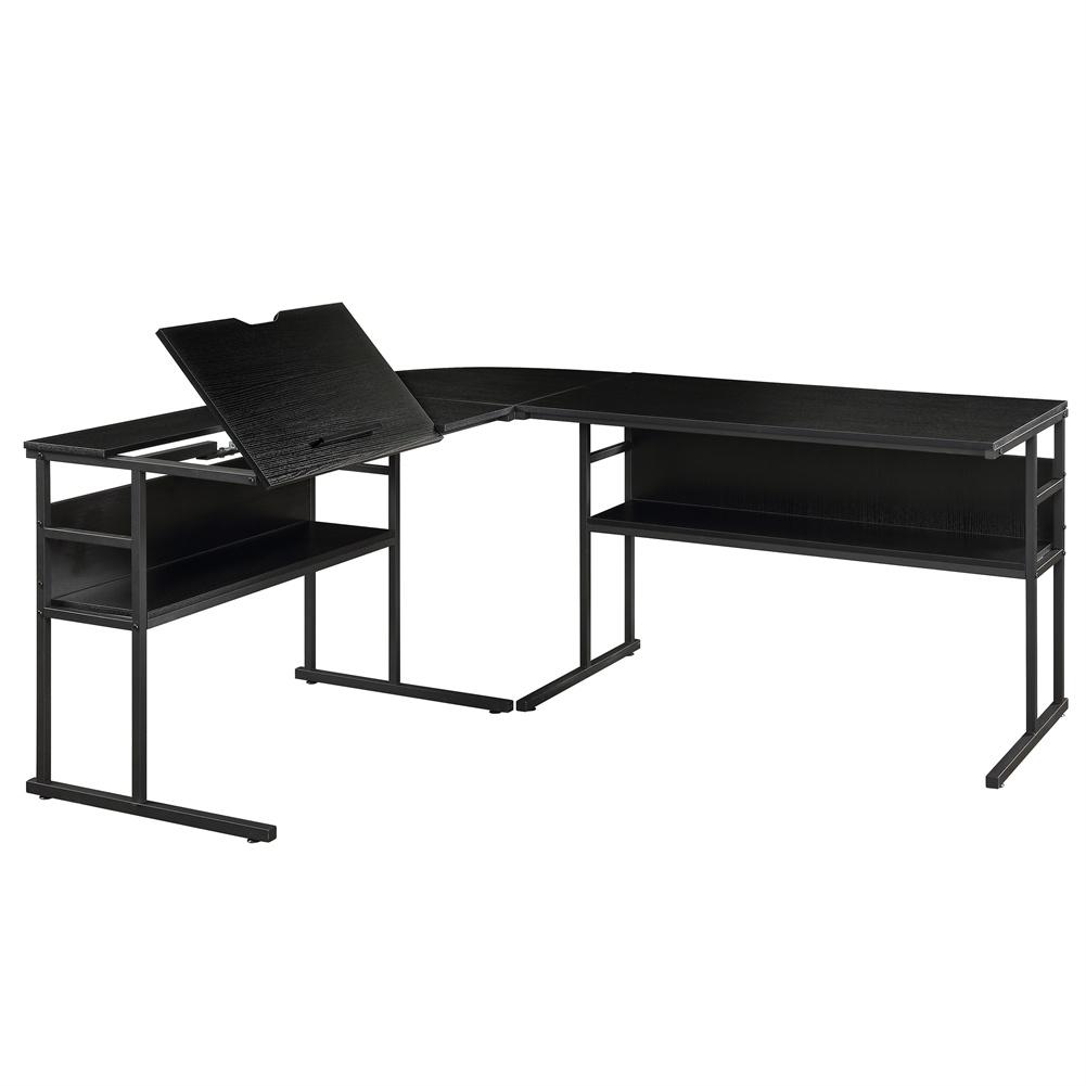 [US Direct] L-shaped Bottom Bookshelf Desk 67