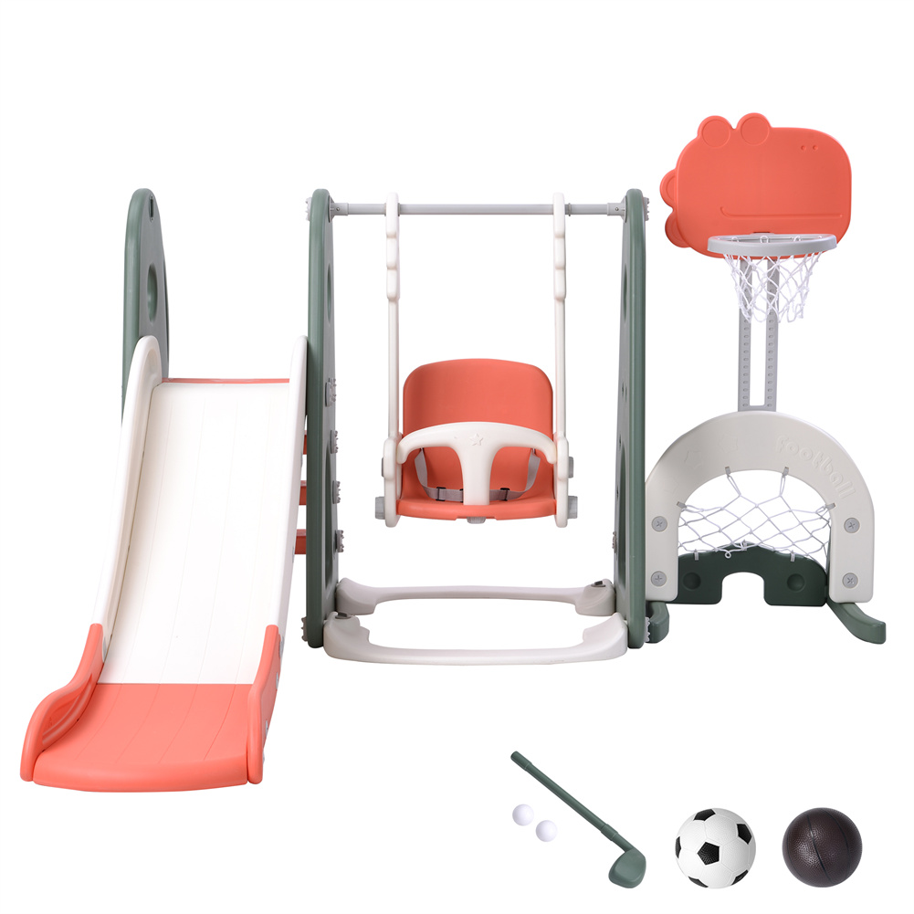 [US Direct] 1 Set 6-in-1  Toddler  Slide  Swing  Set Swing Height Adjustable With Basketball Stand Golf Ball Play Set Color