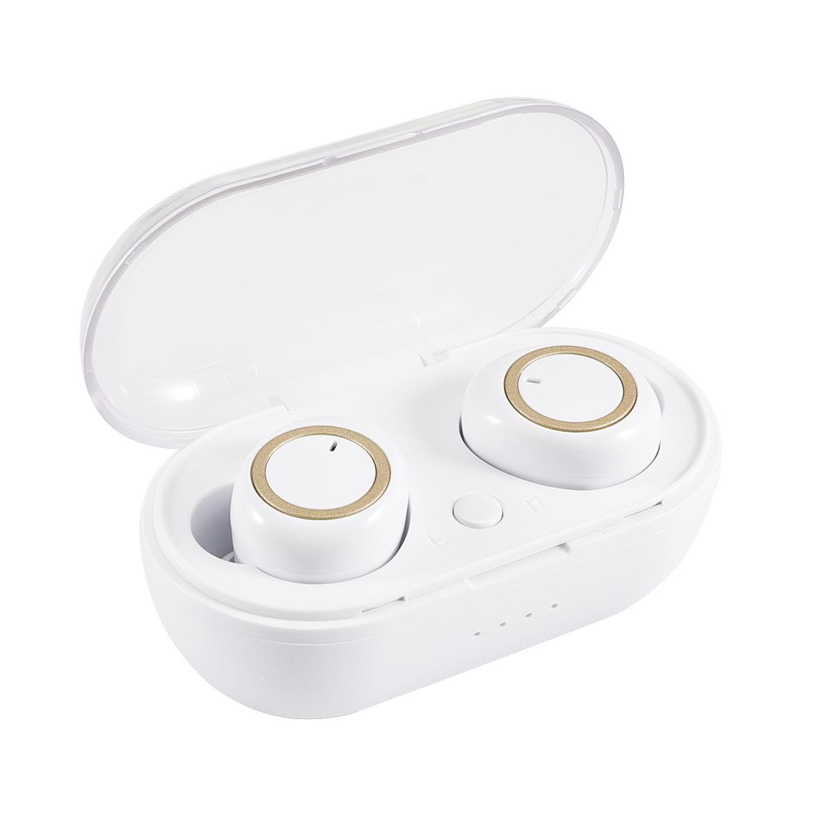 Wireless Headphones TWS Mini True Bluetooth 5.0 Stereo Earphones In-Ear Headset White gold