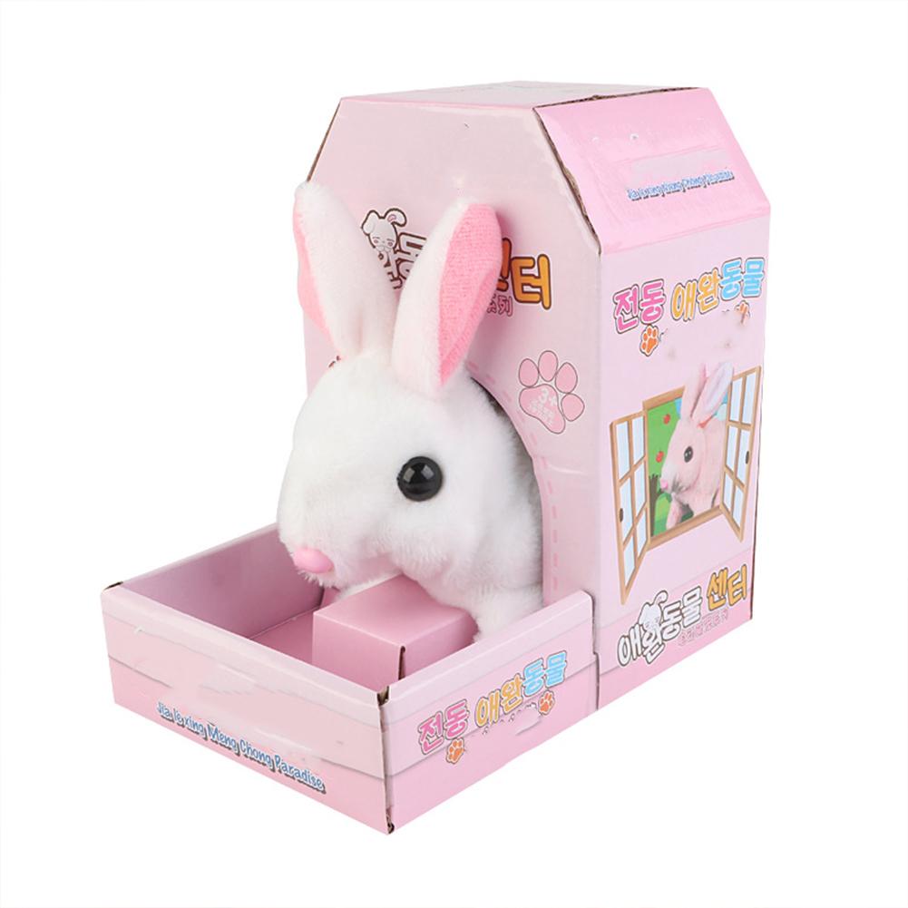 Electric  Plush  Simulation  Animal  Toys Walk Sounds Plush Doll Toy For Children White Rabbit