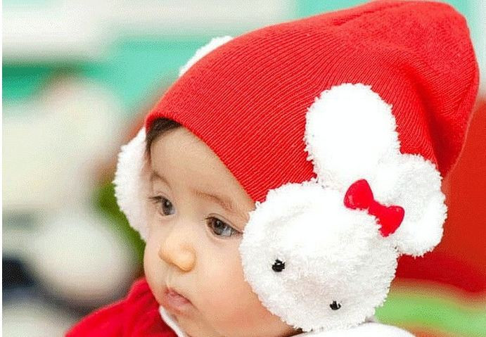 [EU Direct] Baby Boy Girl Cartoon Dual Rabbit Ear Earmuffs Hat Warm Soft Knitted Cap red