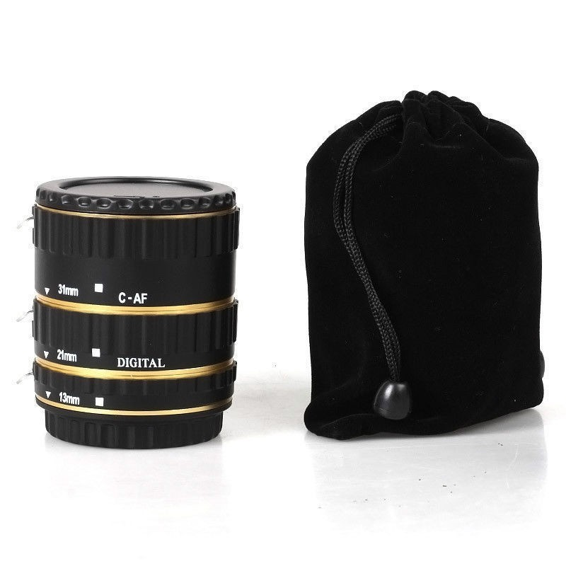 Metal Mount Lens Adapter Auto Focus AF Macro Extension Tube Ring for Canon EOS EF-S Lens 750D 80D 7D T6s 60D 7D 550D 5D Mark IV  Gold