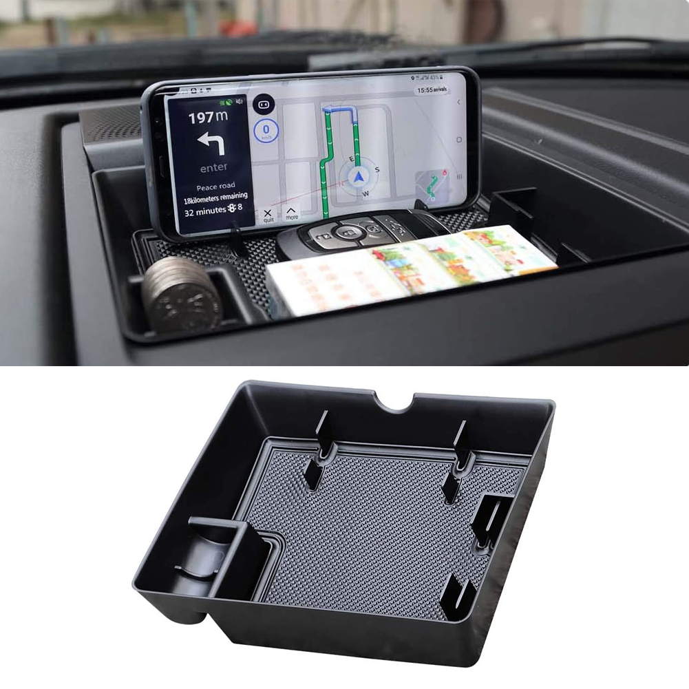 Dash Center Console Table Storage Tray Instrument Organizer ABS Black Materials Anti-Slip Rubber Pad for Ford F150 (2015-2019)