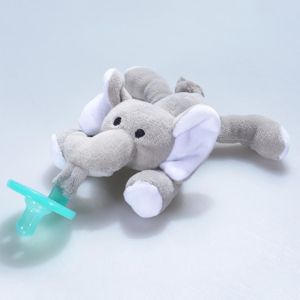 [EU Direct] Cute Cartoon Plush Animal Baby Silicone Pacifier Soft Healthy Nipple Feeding Tool