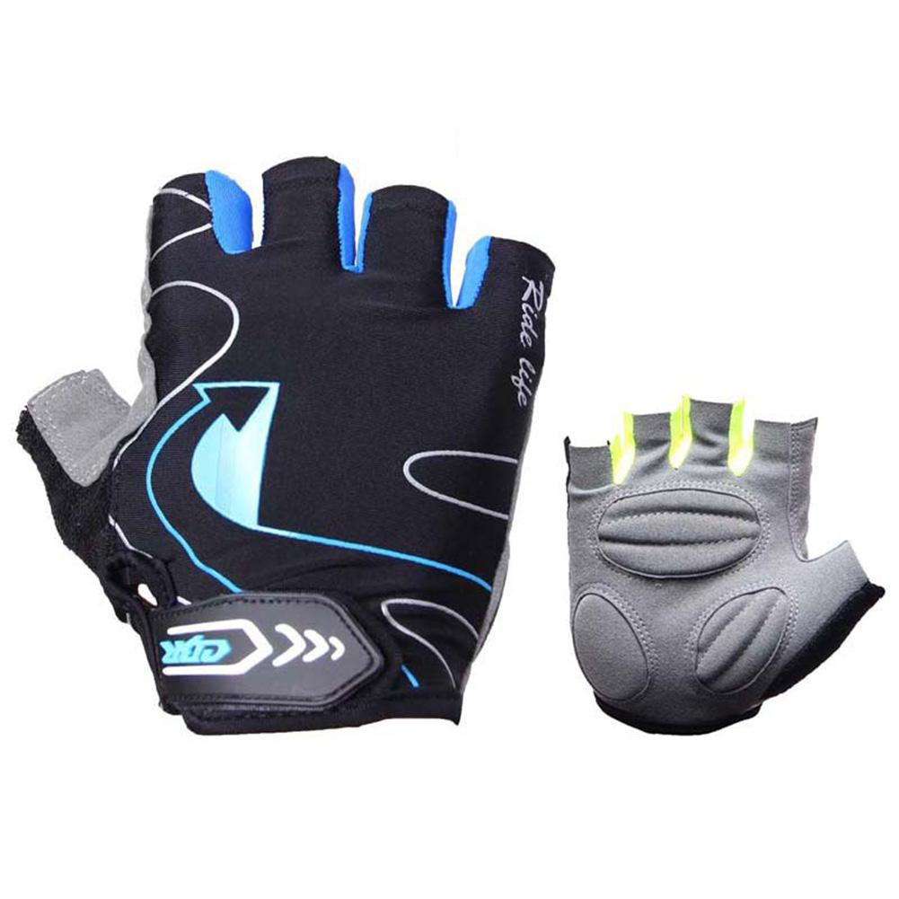 Riding Gloves Silicone Half-finger Gloves Moisture and Breathable Gloves Black blue_L