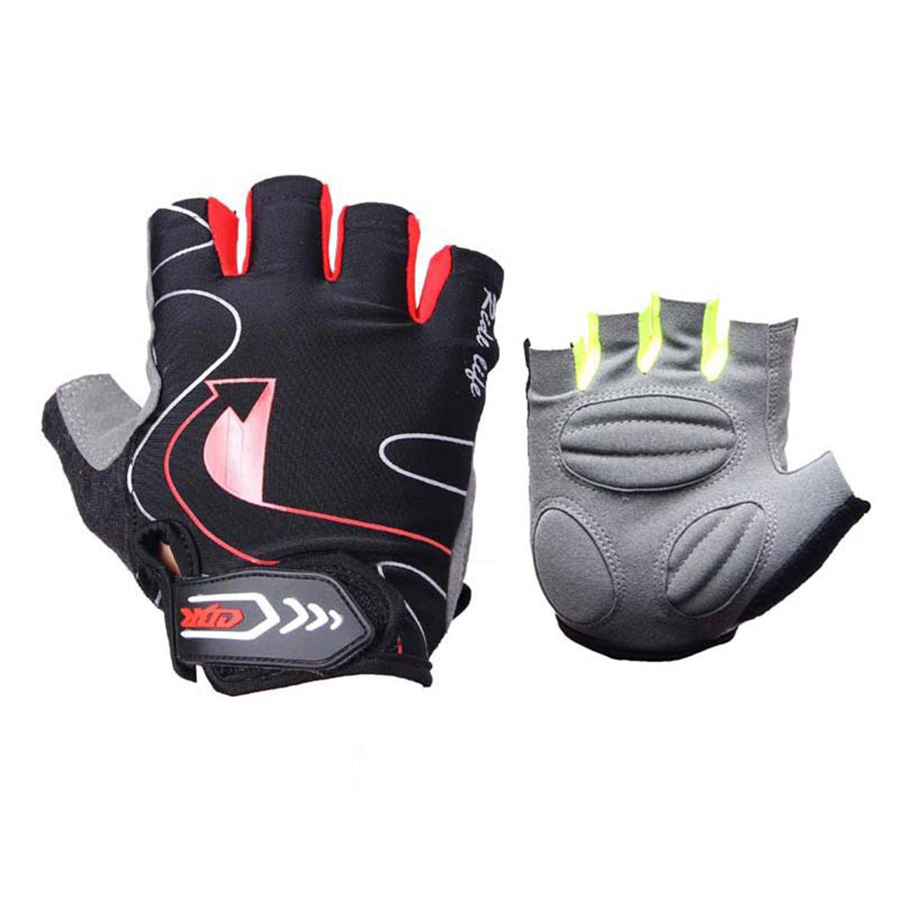 Riding Gloves Silicone Half-finger Gloves Moisture and Breathable Gloves Black red_L