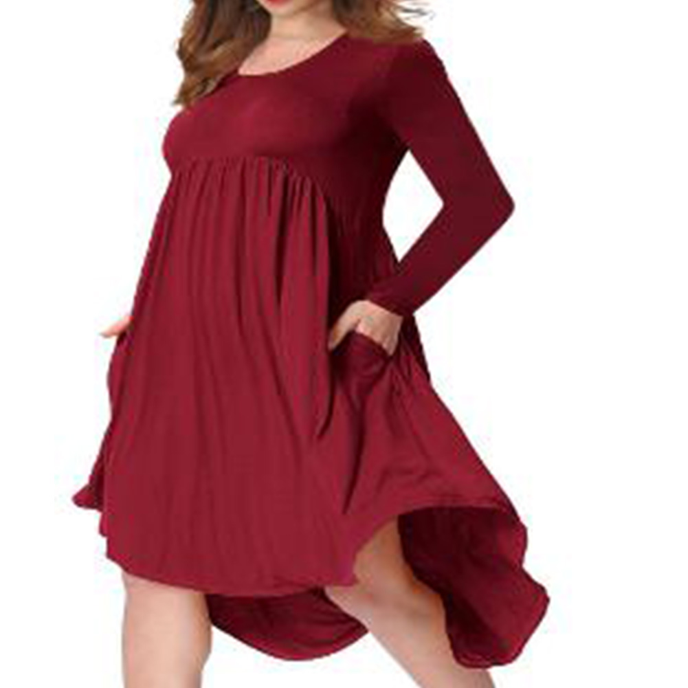 Lady Long Sleeve Irregular Dress Crew Neck Solid Color Over Size Dress with Pockets Wine red_XL