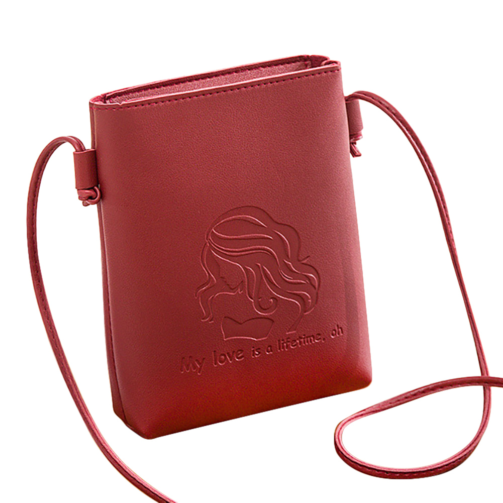 Lady Single Shoulder Crossbody Bag Embossed Bucket Bag Shoulder Satchel red
