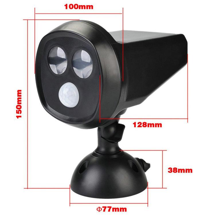 Outdoor 2LED Motion Sensor Solar Power Light IP65 Waterproof Wall Lamp for Patio, Yard, Garden