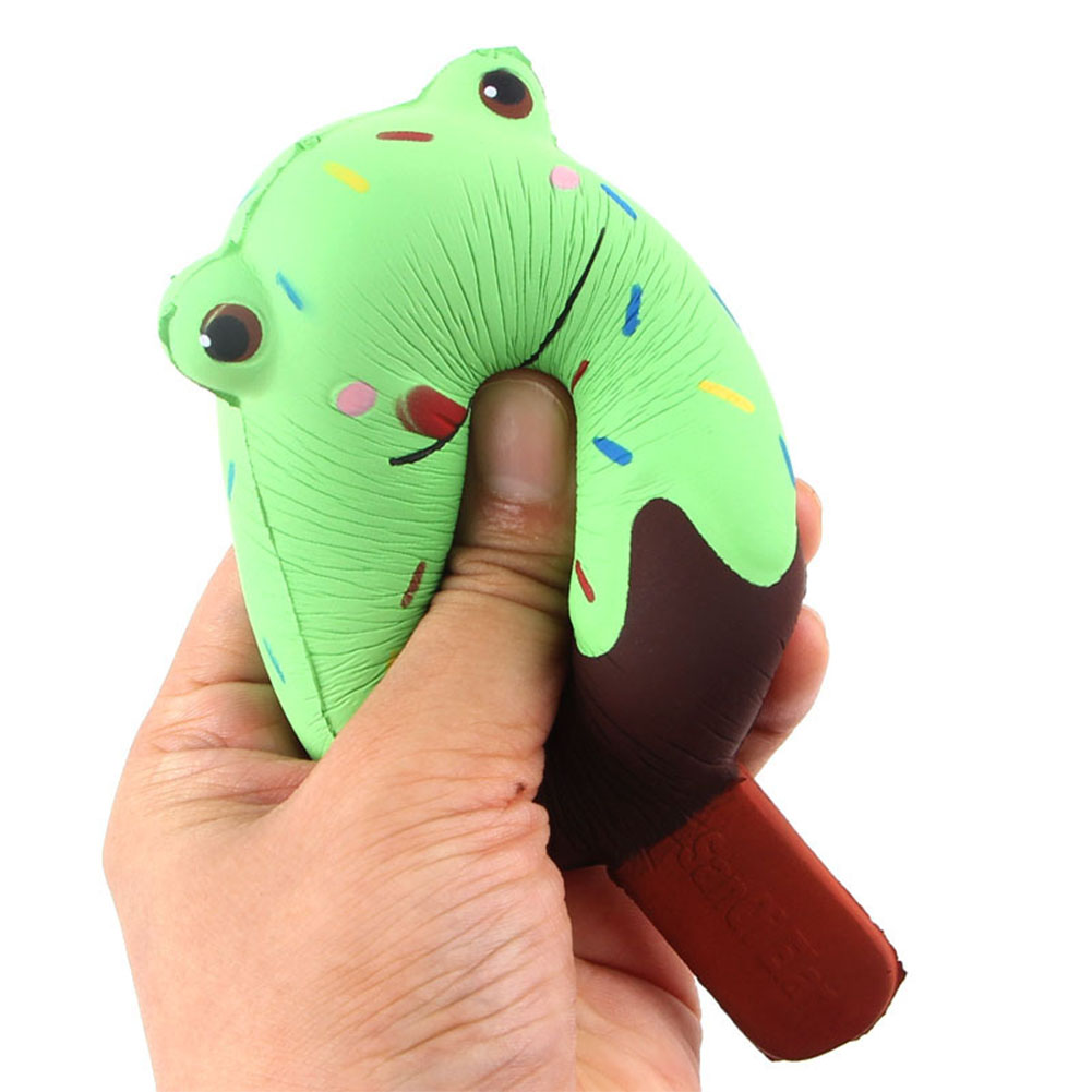 Squishy Cute Froggy Face Simulation Ice Cream Shape Toy Squeeze Slow Rising Cartoon Froggy Ice-cream Stress Relieve Toy for Kids/Adults Random Color