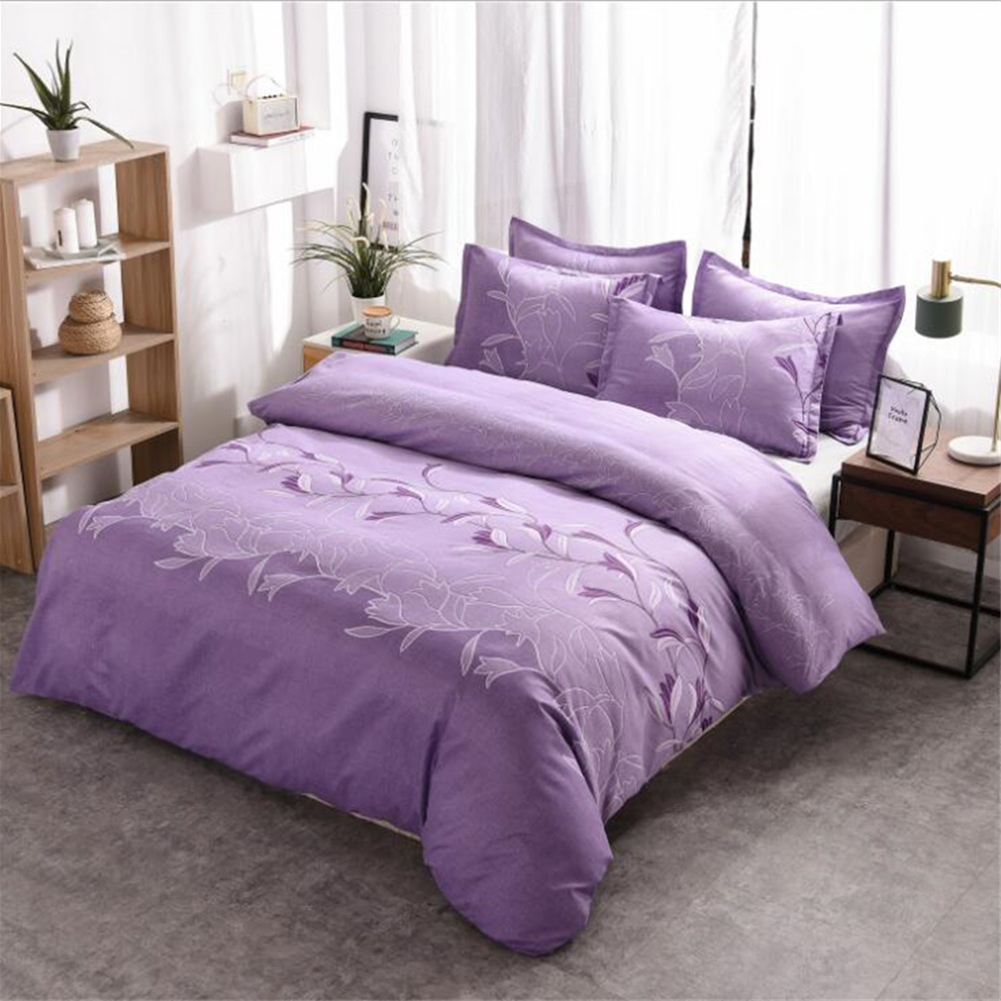 3pcs Simple  Printing Duvet  Cover Pillowcase Bedding  Sets For  Home  Hotel purple_228*228cm(US Queen)