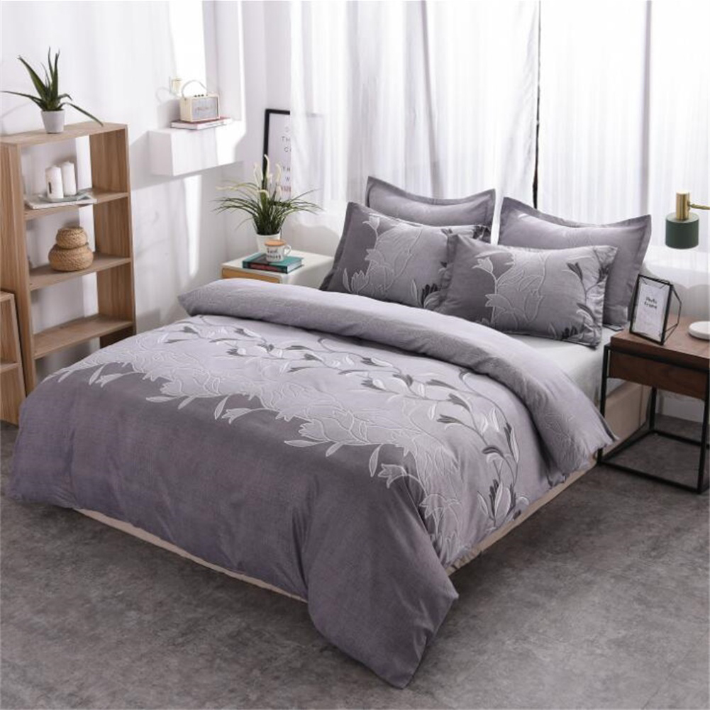 3pcs Simple  Printing Duvet  Cover Pillowcase Bedding  Sets For  Home  Hotel gray_228*228cm(US Queen)