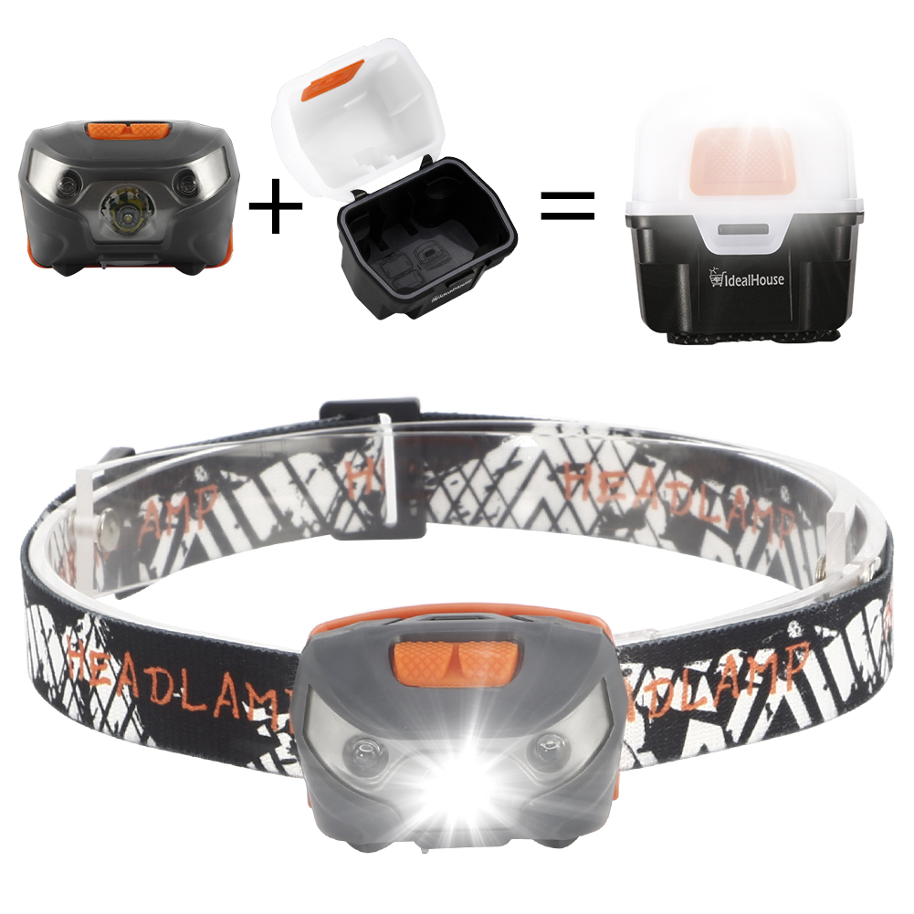 USB Rechargeable Headlamp, Waterproof Magnetic Headlamp with Five Light Modes, Ideal for Running, Walking, Camping, Reading, Hiking etc (USB Cable and Light Box Included)