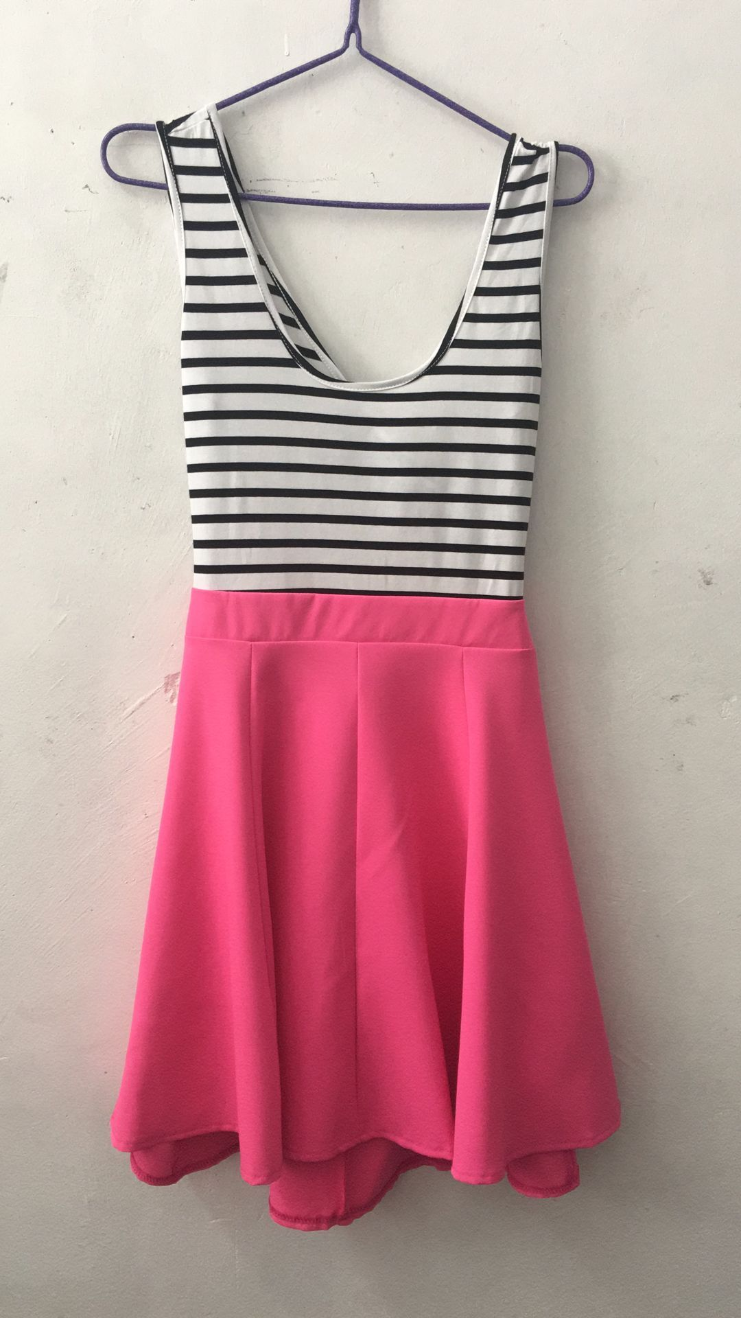 [US Direct] Ladies Open Back Sleeveless Slim Fit Striped Casual Cute Mini Dress Rose Red_S