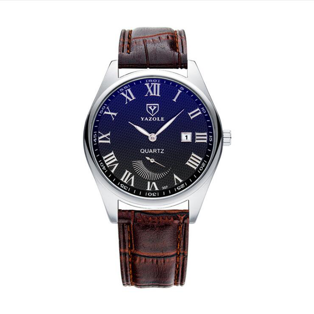 Fashion Business Style Small Pointer Luminous Calendar Lovers Watch Male black dial brown belt