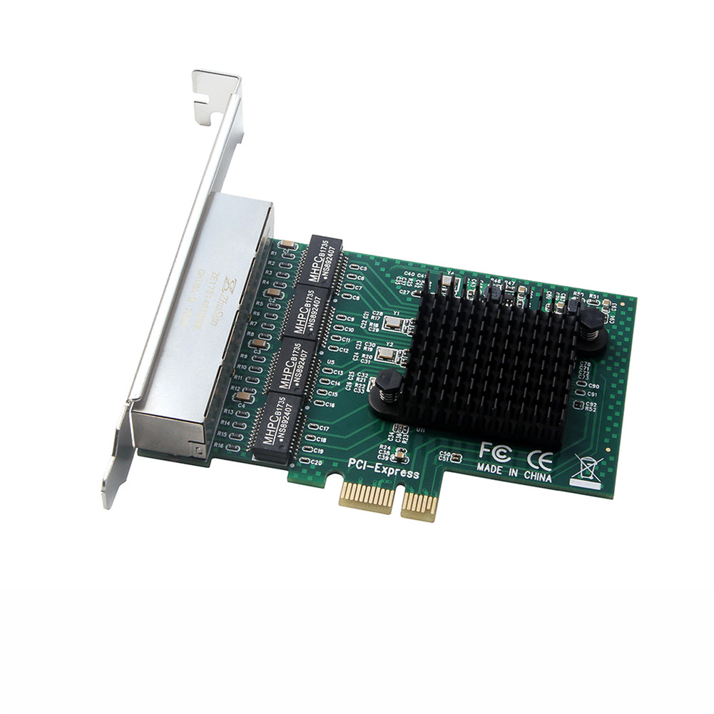 Network Card 4 Port Gigabit Ethernet 10/100/1000M PCI-E PCI Express To 4X Gigabit Ethernet Network Card LAN Adapter for Desktops green