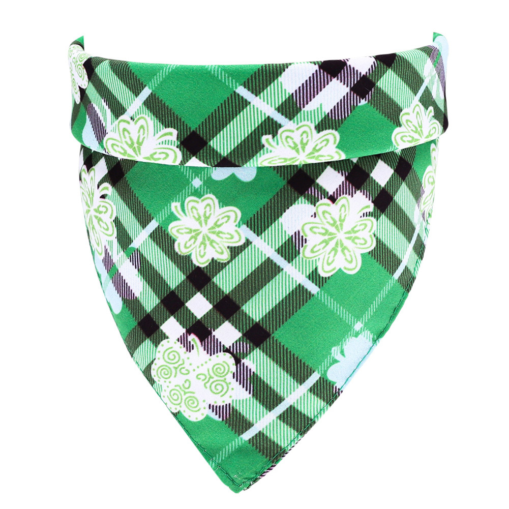 Lucky Green St. Patricks Day Pet Bandanas Scarf Saliva Towel Green plaid