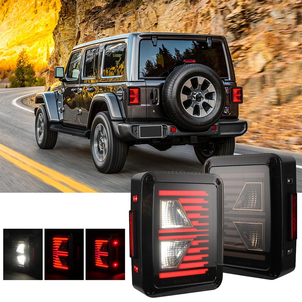 2PCS For JEEP Wrangler JK 07-17 Car LED Reverse Brake Taillights Assembly US Plug As shown