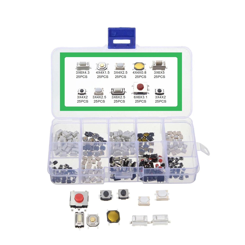 250Pcs Tactile Push Button Switch Car Remote Key Button Microswitch Tool Kit 250 pieces / set