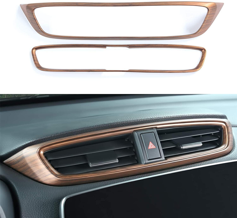 2pcs Peach Wood Grain Air  Vent  Outlet  Panel  Cover For 17-21 Honda Crv Original wood grain_Central control air outlet panel
