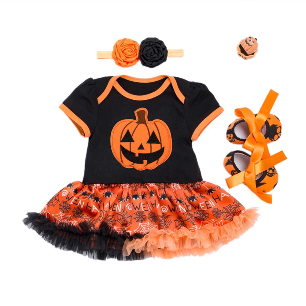 Toddler Newborn Baby Girls Short Sleeve Round Neck Pumpkin Pattern Romper Dress with Gauze Trim + Flower Headband + Bowknot Shoes