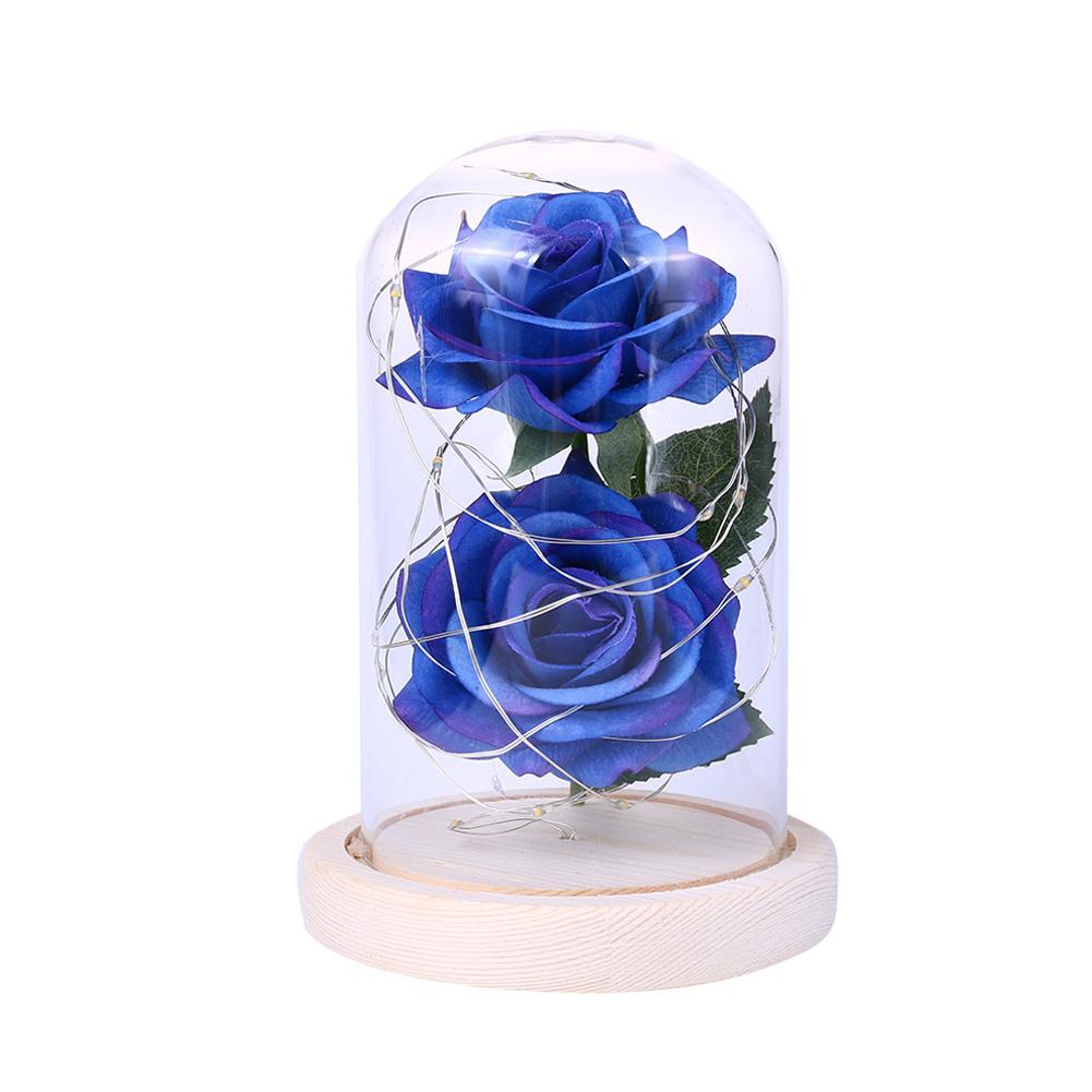 LED Romantic 2 Simulate Rose Shape Decor with String Light for Valentine Decoration blue