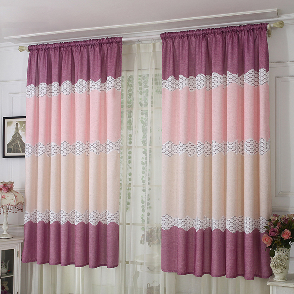 Wide Strip Semi Shading Window Curtain for Bedroom Living Room Rod Style purple_1*2 meters high