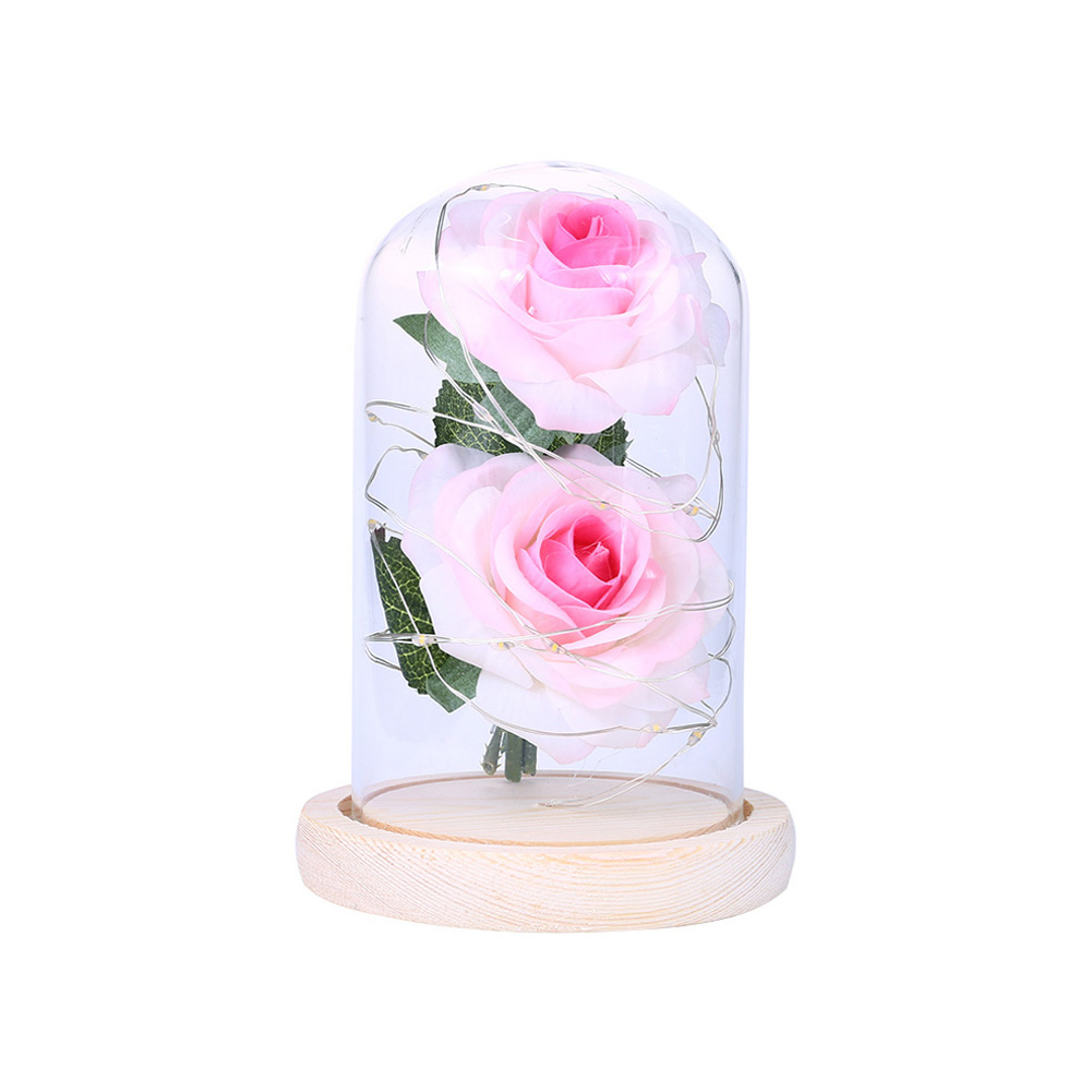 LED Romantic 2 Simulate Rose Shape Decor with String Light for Valentine Decoration Pink white